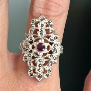 Antique Ruby Marcasite Sterling Silver Dinner Ring